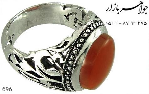 انگشتر نقره عقیق یا علیع مدد مردانه دست ساز - 696