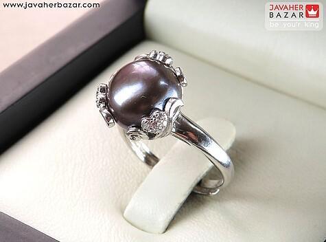 انگشتر نقره مروارید سیاه زیبا فری سایز زنانه
