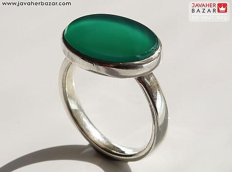 انگشتر نقره عقیق سبز اسپرت