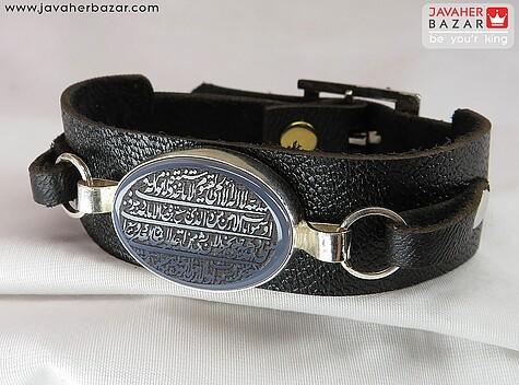 دستبند نقره عقیق آیت الکرسی چرم طبیعی مردانه