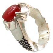 انگشتر نقره عقیق یمن قرمز رکاب هاشوری مردانه