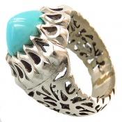 انگشتر نقره فیروزه نیشابوری زیبا تراش عبدالرزاق مردانه