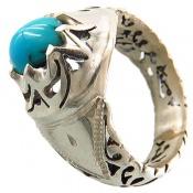 انگشتر نقره فیروزه نیشابوری مرغوب مردانه
