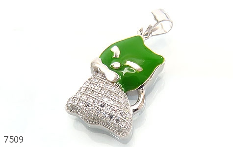 عکس مدال نقره فانتزی طرح گربه سبز بچه گانه