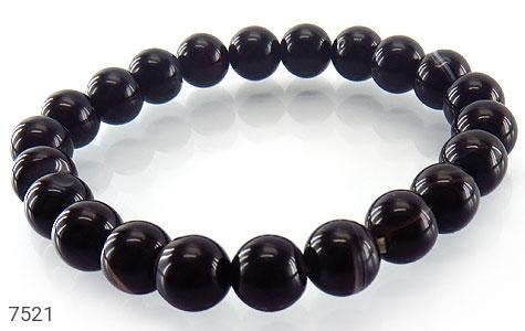 عکس دستبند عقیق سیاه سایز متوسط زنانه