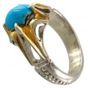 انگشتر نقره فیروزه نیشابوری خوش رنگ هنر شرفیان مردانه