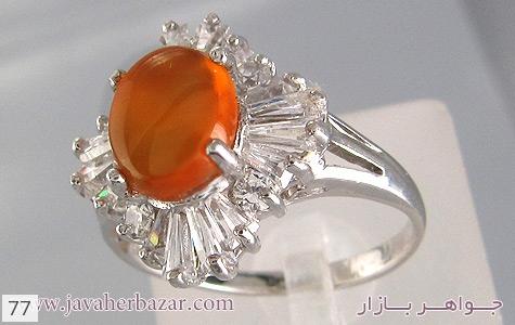 انگشتر نقره عقیق طرح شکوفه زنانه - 77