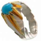 انگشتر فیروزه نیشابوری خوش طبع و رنگ شاهانه مردانه