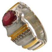 انگشتر نقره یاقوت سرخ آفریقایی مرغوب و با کیفیت مردانه