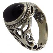 انگشتر نقره عقیق سیاه خوش رنگ مردانه