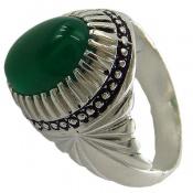 انگشتر نقره عقیق سبز خوش رنگ درشت مردانه