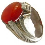 انگشتر نقره عقیق یمن قرمز خوش رنگ درشت مرغوب مردانه