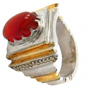 انگشتر نقره عقیق یمن مرغوب و سلطنتی هنر شرفیان مردانه