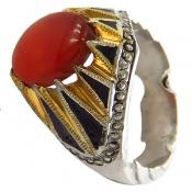 انگشتر نقره عقیق یمن قرمز درشت مرغوب شاهانه مردانه
