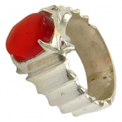 انگشتر نقره عقیق یمن قرمز خوش رنگ مرغوب مردانه