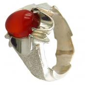 انگشتر نقره عقیق قرمز یمن خوش رنگ مردانه