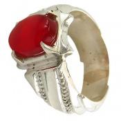 انگشتر نقره عقیق سرخ یمن خوش رنگ مردانه