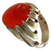 انگشتر نقره عقیق سرخ خوش رنگ درشت مرغوب مردانه