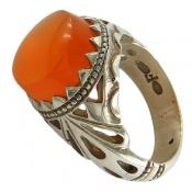 انگشتر نقره عقیق یمن پرتقالی خوش رنگ برجسته مردانه