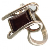 انگشتر نقره کهربا زنانه