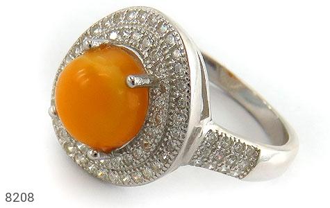 انگشتر نقره کهربا بولونی لهستان درجه یک زنانه - 8208