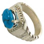 انگشتر نقره فیروزه نیشابوری خوش رنگ و مرغوب طرح صفوی مردانه