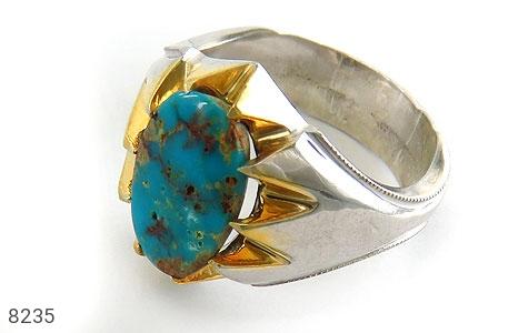 انگشتر نقره فیروزه نیشابوری خوش رنگ درشت مردانه - 8235
