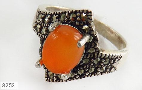 انگشتر نقره عقیق یمن خوش رنگ پرتقالی زنانه - 8252