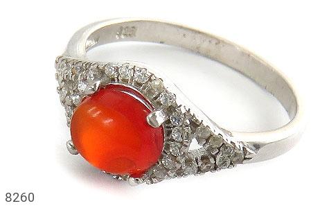 انگشتر نقره عقیق یمن سرخ خوش رنگ زنانه - 8260