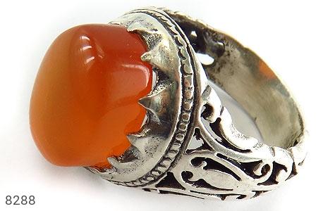 انگشتر نقره عقیق یمن شرف الشمس پرتقالی خوش رنگ برجسته مردانه - 8288