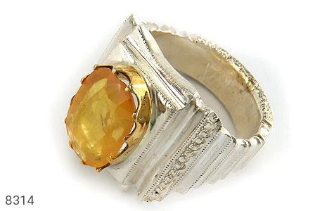 انگشتر نقره یاقوت آفریقایی زرد درشت مرغوب فاخر مردانه - 8314