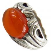 انگشتر نقره عقیق یمن پرتقالی درشت خوش رنگ مردانه