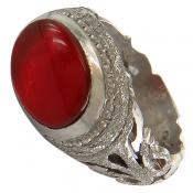 انگشتر نقره عقیق یمن قرمز خوش رنگ رکاب صفوی مردانه