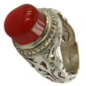 انگشتر نقره عقیق یمن سرخ خوش رنگ برجسته مردانه