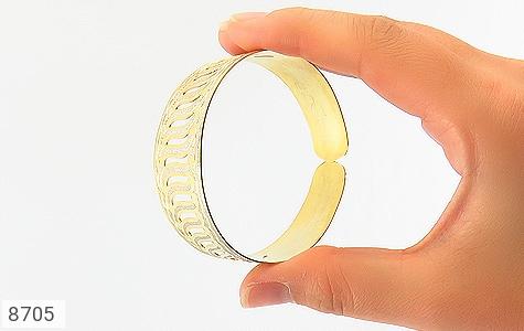 عکس النگو نقره پهن طرح دستبندی فاخر زنانه - شماره 5