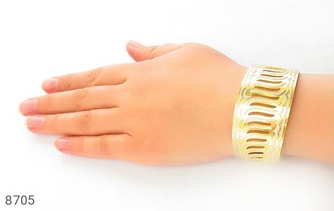عکس النگو نقره پهن طرح دستبندی فاخر زنانه - شماره 6
