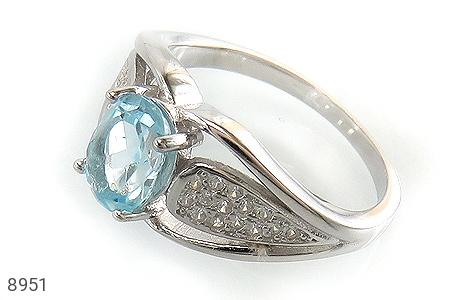 عکس انگشتر توپاز آبی طرح رامش زنانه
