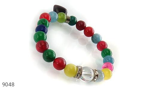 عکس دستبند جید رنگارنگ آویز قلب زنانه