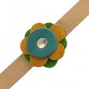 دستبند چرم طبیعی طرح گل درشت دست دوز زنانه دست ساز