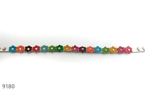 دستبند چرم طبیعی طبیعی دو رشته ای طرح بهار هنر دست زنانه دست ساز - 9180