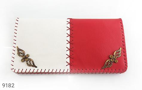 عکس کیف چرم طبیعی دو رنگ دست دوز زنانه