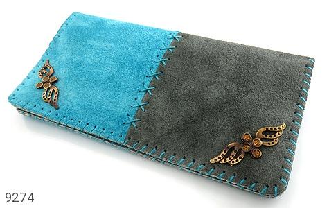 کیف چرم طبیعی اشبالت دو رنگ دست دوز زنانه دست ساز - 9274