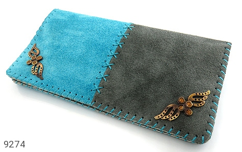 عکس کیف چرم طبیعی اشبالت دو رنگ دست دوز زنانه