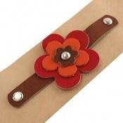 دستبند چرم طبیعی طرح گل درشت پهن زنانه دست ساز