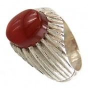 انگشتر نقره عقیق یمن سرخ خوش رنگ مردانه