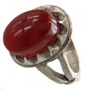 انگشتر نقره عقیق یمن سرخ برجسته و خوش رنگ مردانه