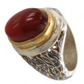 انگشتر نقره عقیق یمنی سرخ کم نظیر رکاب الملک لله مردانه
