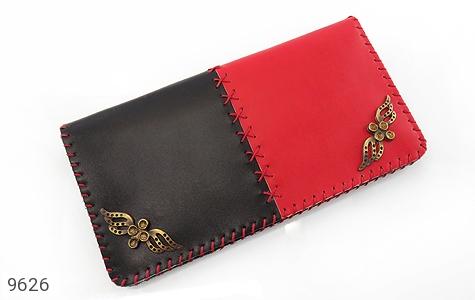 عکس کیف چرم طبیعی دست دوز دو رنگ زنانه