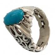 انگشتر فیروزه نیشابوری خوش رنگ مرغوب مردانه