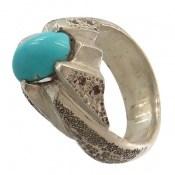 انگشتر نقره فیروزه نیشابوری مرغوب خوش رنگ مردانه